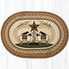 Sheep and Barn Star Oval Patch Braided Rug | Capitol Earth Rugs | OP-300SBS