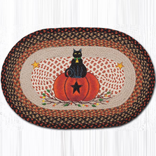 Black Cat Pumpkin Oval Patch Braided Rug | Capitol Earth Rugs | OP-222BCP