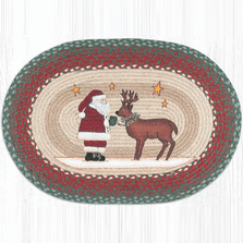 Santa and Reindeer Oval Patch Braided Rug | Capitol Earth Rugs | OP-025SR