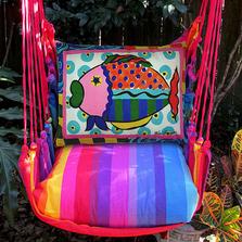 "Fish Hammock Chair Swing ""Rainbow Stripe"" | Magnolia Casual | RBVC-SP-2"