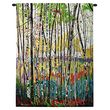 "Birch Tree Tapestry Wall Hanging ""Voile de Montagne"" 