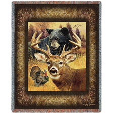 """Deer Tapestry Throw Blanket """"Hunter's Dream""""