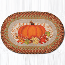 Pumpkin Leaves Oval Patch Braided Rug | Capitol Earth Rugs | OP-438