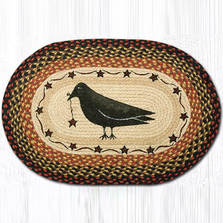 Crow and Stars Oval Patch Braided Rug | Capitol Earth Rugs | OP-919