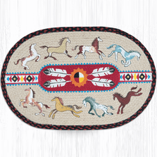 Native Horse Oval Patch Braided Rug | Capitol Earth Rugs | OP-019