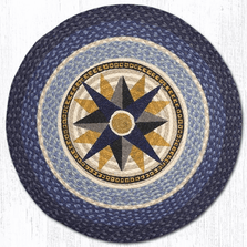Compass Rose Round Patch Braided Rug | Capitol Earth Rugs | CERRP-350