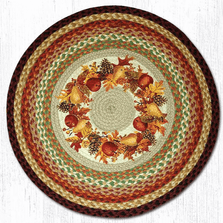 Autumn Wreath Round Patch Braided Rug | Capitol Earth Rugs | CERRP-431