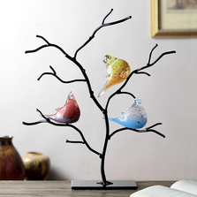 Art Glass Bird Trio on Tree | 83018 | SPI Home