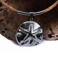 Sand Dollar Sterling Silver and Cork Necklace   Nature Jewelry   CTD-N62