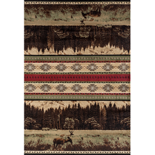 "Deer Area Green Rug ""Woodside"" 