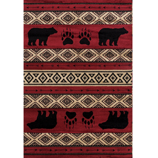 "Bear Print Area Rug Red ""Woodside"" 