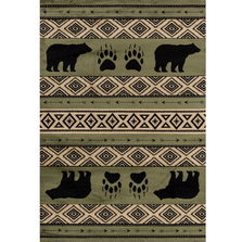 "Bear Print Area Rug Green ""Woodside"" 