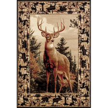 "Deer Wildlife Border Area Rug ""Woodside"" 