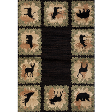 "Bear Deer Elk and Moose Collage Area Rug ""Woodside"" 