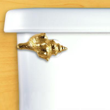 Seashell Toilet Flush Handle | Gold | Functional Fine Art