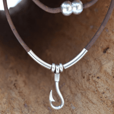 Fishhook and Cork Necklace | Nature Jewelry | CTD-N53C