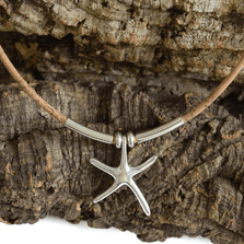 Starfish Sterling Silver and Cork Necklace | Nature Jewelry | CTD-N27B
