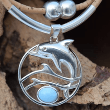 Dolphin Larimar, Sterling Silver and Cork Necklace | Nature Jewelry | CTD-N71