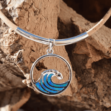 Wave Opal, Sterling Silver and Cork Necklace | Nature Jewelry | CTD-N78