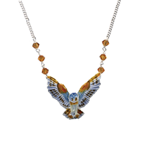 Barn Owl Large Cloisonne Necklace | Bamboo Jewelry | bj0095sn