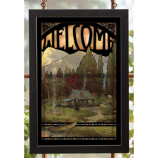 Mountain Cabin Stained Glass Art | Welcome: Evening Majesty | Wild Wings | 5386498403