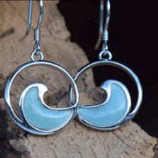 Wave Larimar, Sterling Silver Earrings | Nature Jewelry | CTD-E18