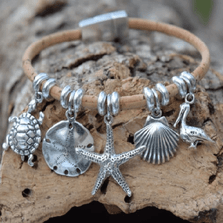 Sealife Sterling Silver and Cork Bracelet | Nature Jewelry | CTD-B84
