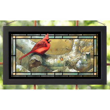 Cardinal on Fallen Birch Stained Glass Art | Wild Wings | 5386600412