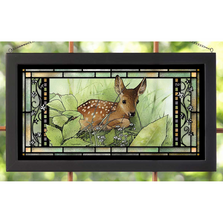 "Deer Stained Glass Art ""Hidden Fawn"" 