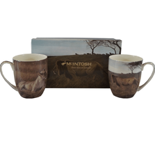 Lion Bone China Mug Set of 2 | McIntosh Trading Lion Mug | Robert Bateman Lion Mug Set