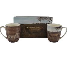 Lion Bone China Mug Set of 2   McIntosh Trading Lion Mug   Robert Bateman Lion Mug Set