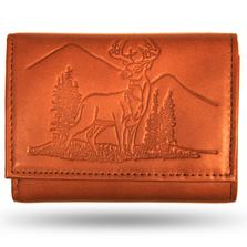 Deer Scene Leather Men's Trifold Wallet