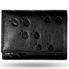 Deer Tracks Black Leather Men's Trifold Wallet