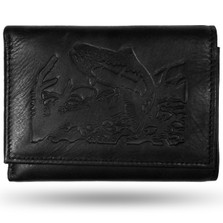 Trout Black Leather Men's Trifold Wallet