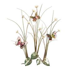 Bovano Three Butterflies in Grassy Meadow Enameled Copper Wall Art | B56