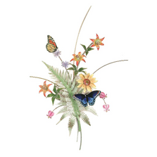 Bovano Butterflies with Fern, Turks Cap Lilies, Sunflower Wall Art | B70