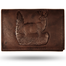 Deer Standing Brown Leather Men's Trifold Wallet