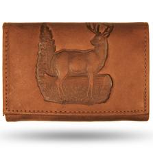Deer Standing Tan Leather Men's Trifold Wallet