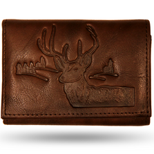 Deer Head Men's Leather Trifold Brown Wallet