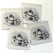 Bluebird and Snow Coasters Set of 4 | Betsy Drake