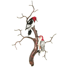Bovano Red-headed and Red-bellied Woodpeckers Enameled Copper Wall Art   W8089
