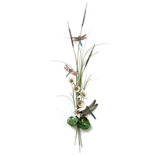 Bovano Three Dragonflies with Lilies, Mallow and Cattails Enameled Copper Wall Art | W7630