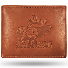 Elk Bugling Leather Bifold Tan Wallet