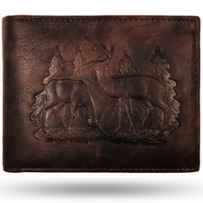 Deer Pair Leather Bifold Brown Wallet