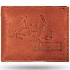 Deer Head Scene Leather Bifold Wallet