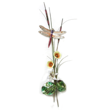 Bovano Peach  Dragonfly with Lily and Mallow Enameled Copper Wall Art | W7628