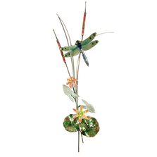 Bovano Green Dragonfly with Orange Flowers and Patina Leaves Wall Art | W7626