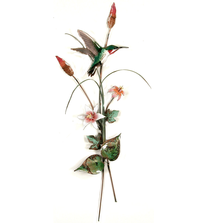 Bovano Hummingbird with Pink Lilies Enameled Copper Wall Art | W7625