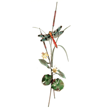 Bovano Orange-tailed Dragonfly with Yellow Lilies Enameled Copper Wall Art | W7624