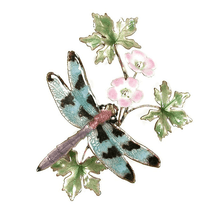 Bovano Check Winged Dragonfly with Flower Enameled Copper Wall Art | W7616